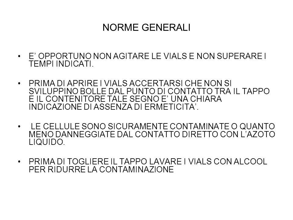 NORME GENERALI E' OPPORTUNO NON AGITARE LE VIALS E NON SUPERARE I TEMPI INDICATI.