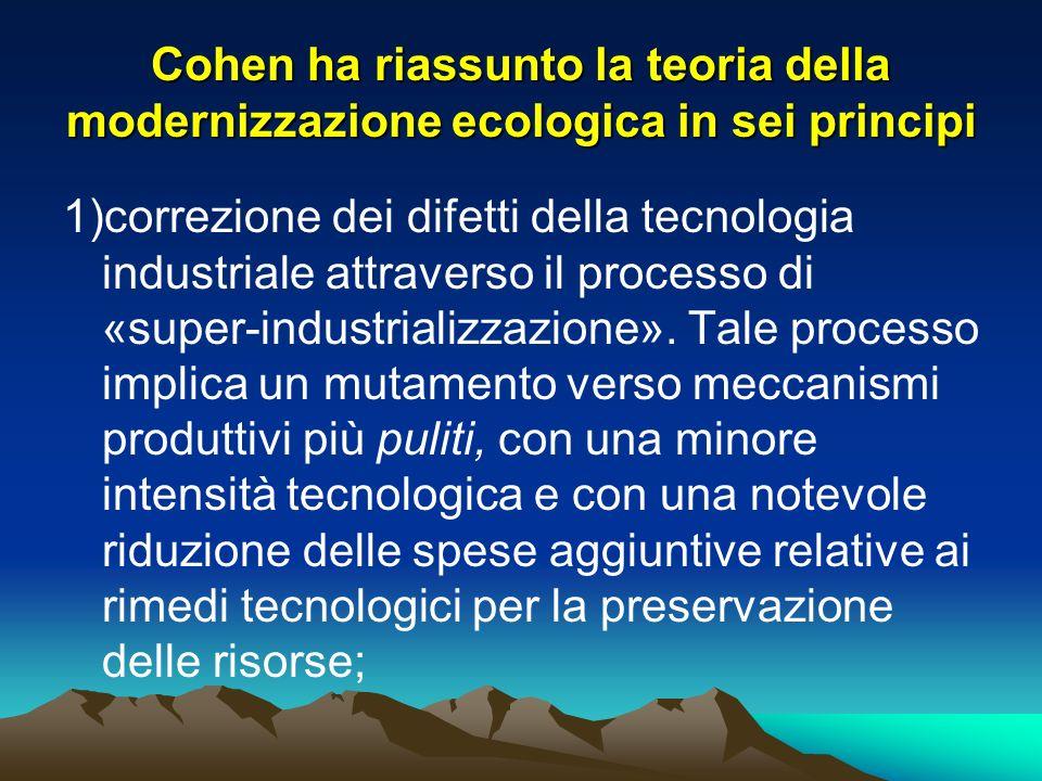 Cohen ha riassunto la teoria della modernizzazione ecologica in sei principi