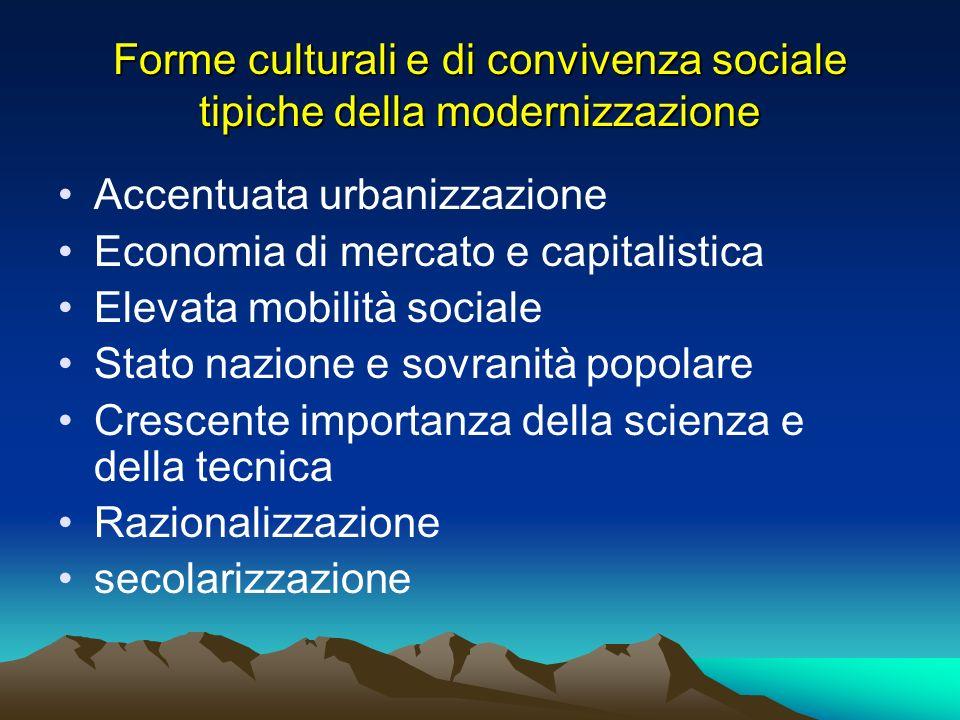 Forme culturali e di convivenza sociale tipiche della modernizzazione