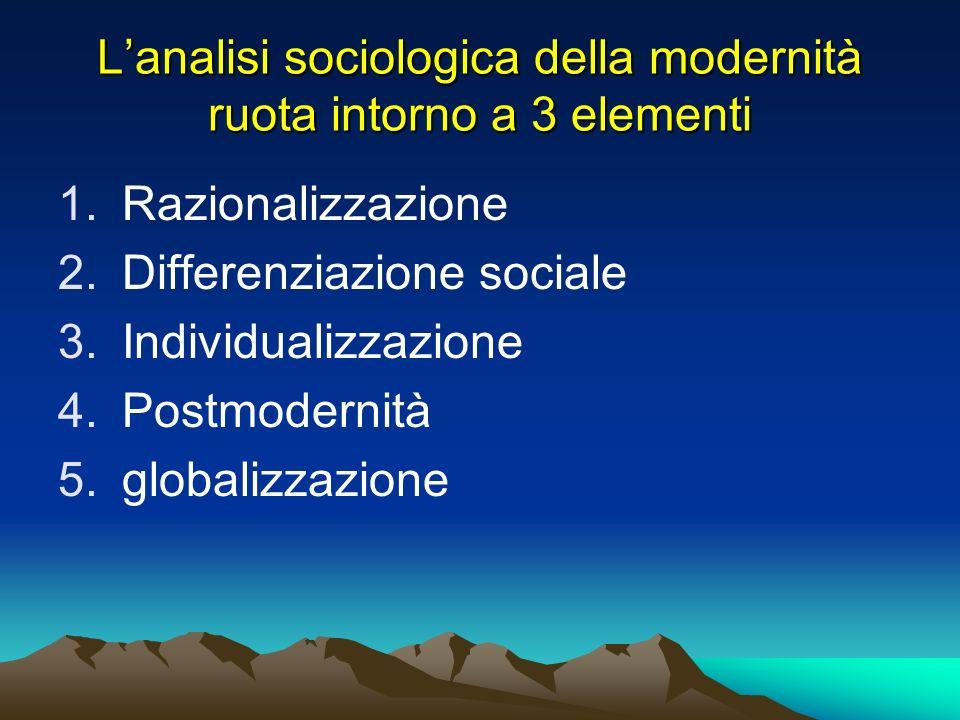 L'analisi sociologica della modernità ruota intorno a 3 elementi
