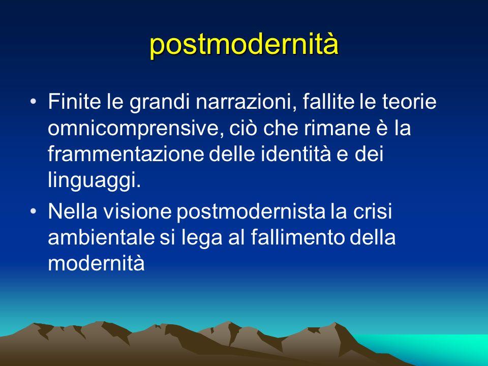 postmodernità Finite le grandi narrazioni, fallite le teorie omnicomprensive, ciò che rimane è la frammentazione delle identità e dei linguaggi.