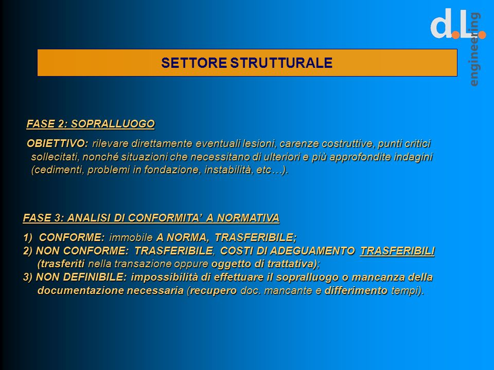 SETTORE STRUTTURALE FASE 2: SOPRALLUOGO