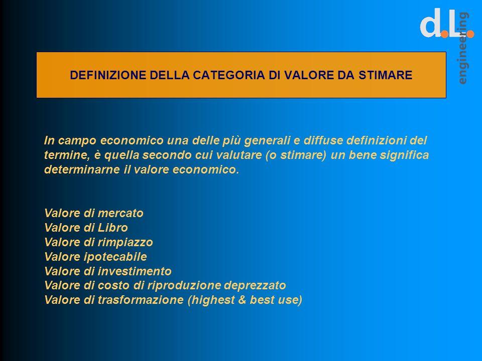 DEFINIZIONE DELLA CATEGORIA DI VALORE DA STIMARE