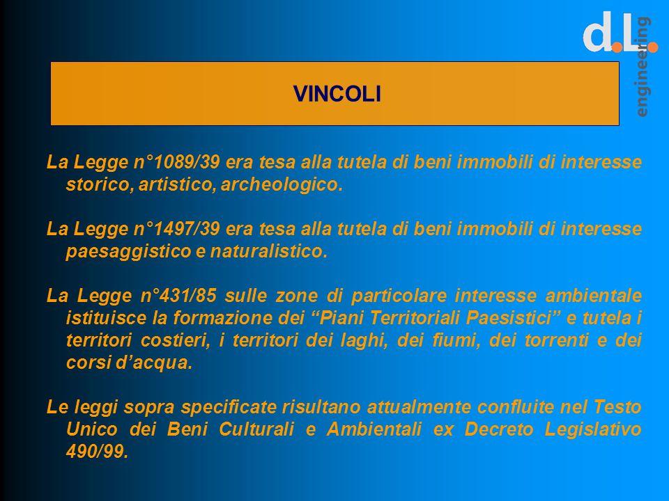 VINCOLI La Legge n°1089/39 era tesa alla tutela di beni immobili di interesse storico, artistico, archeologico.