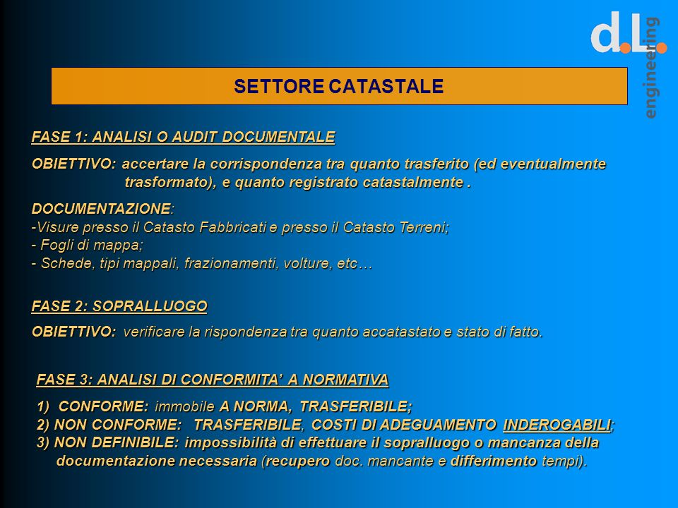 SETTORE CATASTALE FASE 1: ANALISI O AUDIT DOCUMENTALE