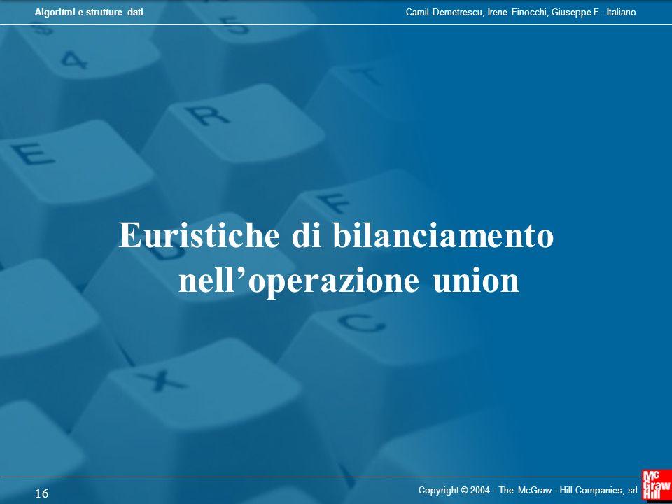 Euristiche di bilanciamento nell'operazione union