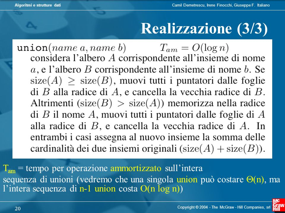 Realizzazione (3/3) Tam = tempo per operazione ammortizzato sull'intera.