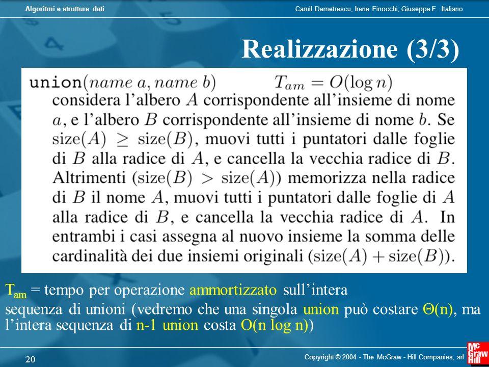 Realizzazione (3/3)Tam = tempo per operazione ammortizzato sull'intera.