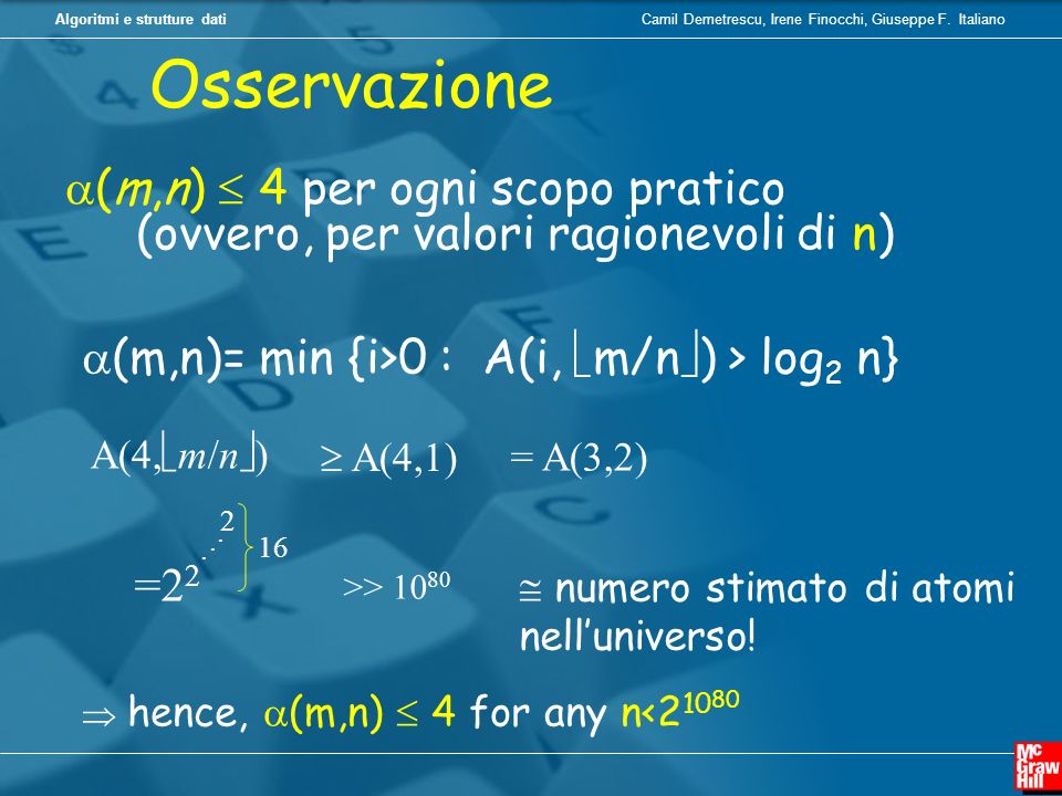 Osservazione(m,n)  4 per ogni scopo pratico (ovvero, per valori ragionevoli di n) (m,n)= min {i>0 : A(i, m/n) > log2 n}