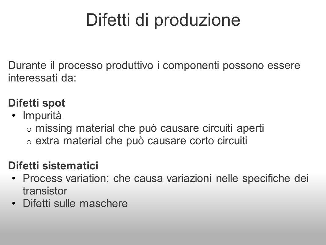 Difetti di produzione Durante il processo produttivo i componenti possono essere interessati da: Difetti spot.