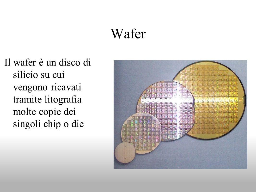 Wafer Il wafer è un disco di silicio su cui vengono ricavati tramite litografia molte copie dei singoli chip o die.