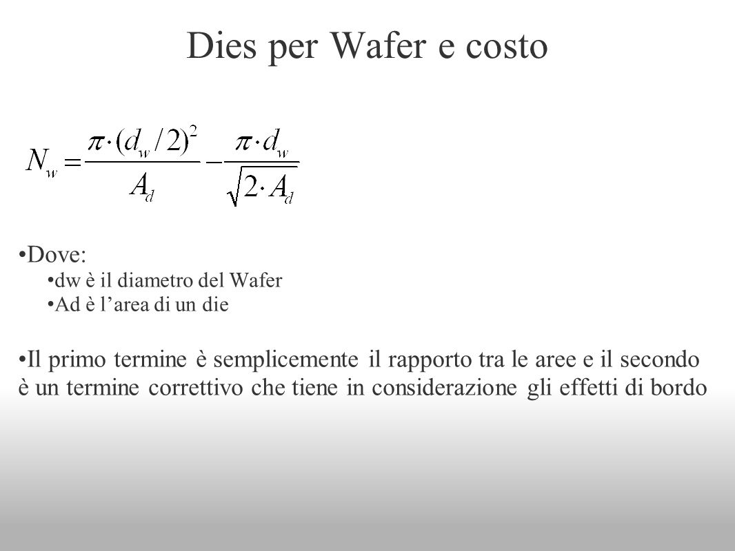 Dies per Wafer e costo Dove: