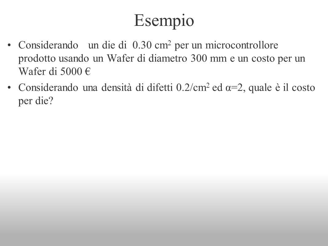 Esempio Considerando un die di 0.30 cm2 per un microcontrollore prodotto usando un Wafer di diametro 300 mm e un costo per un Wafer di 5000 €
