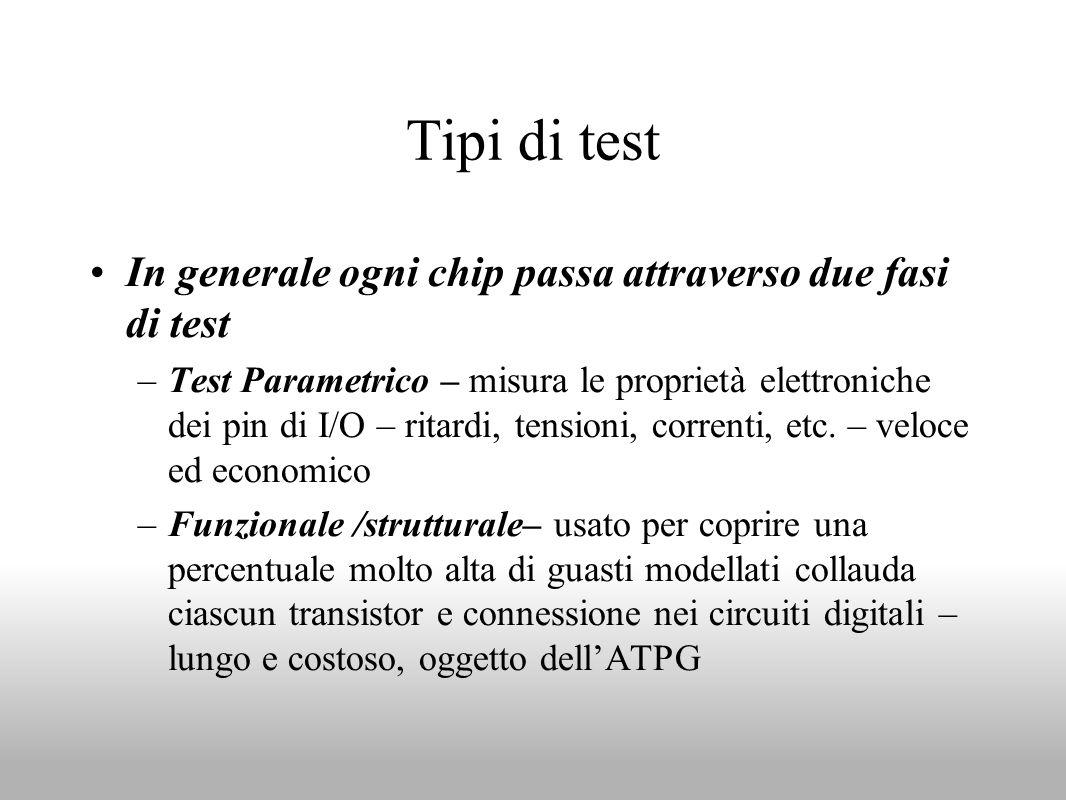Tipi di test In generale ogni chip passa attraverso due fasi di test