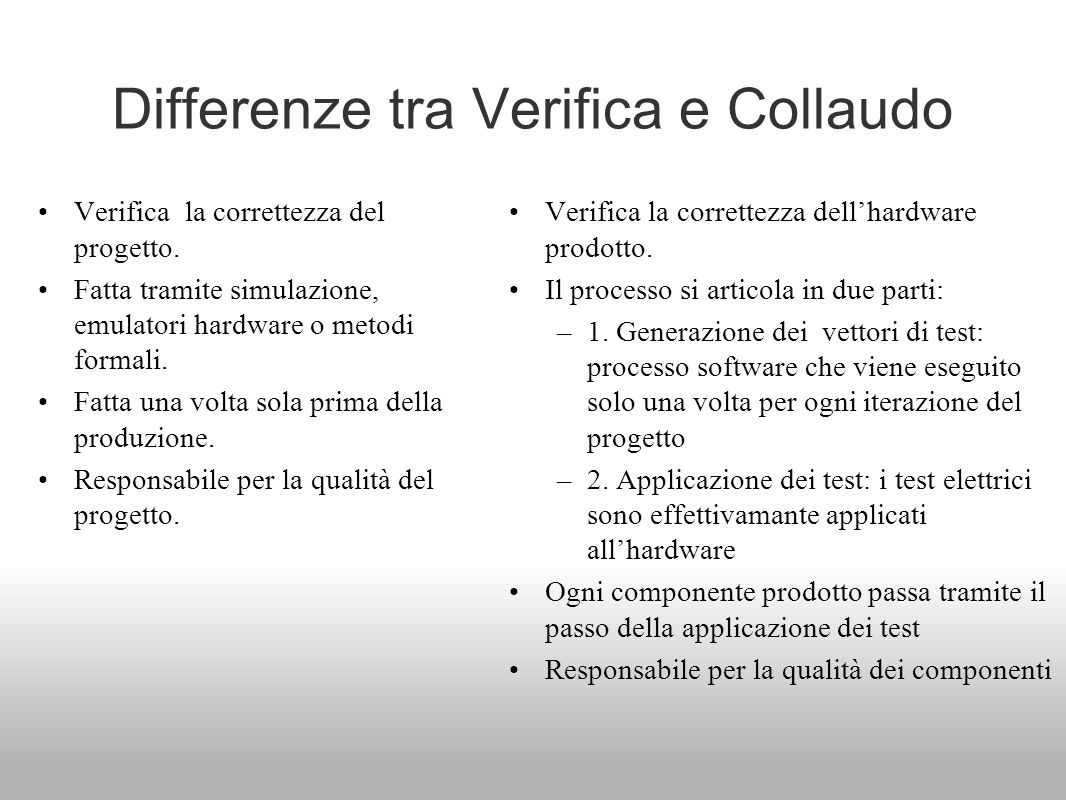 Differenze tra Verifica e Collaudo