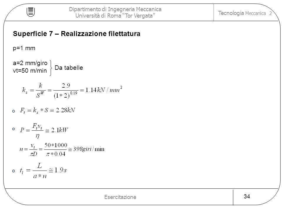 Superficie 7 – Realizzazione filettatura