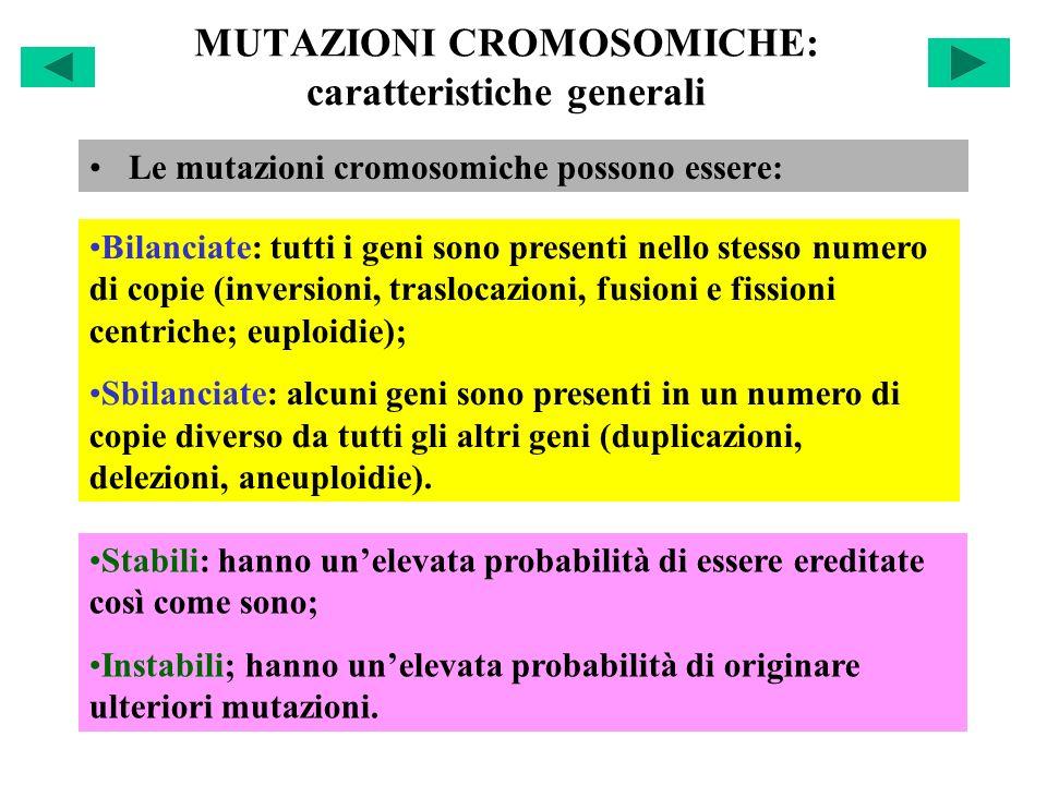 MUTAZIONI CROMOSOMICHE: caratteristiche generali