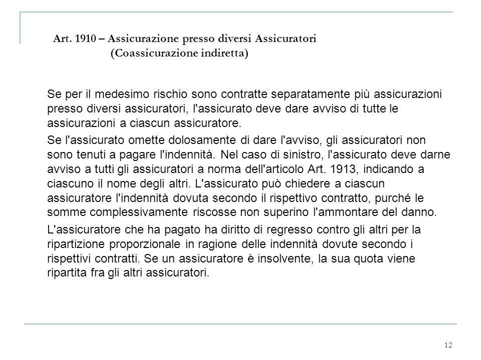 Art. 1910 – Assicurazione presso diversi Assicuratori (Coassicurazione indiretta)