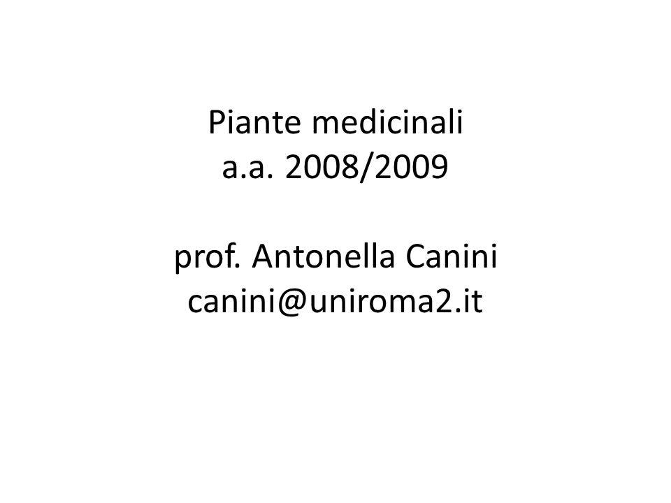 Piante medicinali a. a. 2008/2009 prof