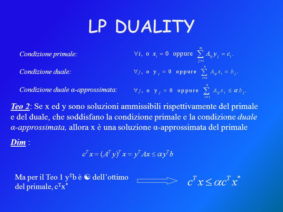 LP DUALITY Condizione primale: Condizione duale: Condizione duale α-approssimata: