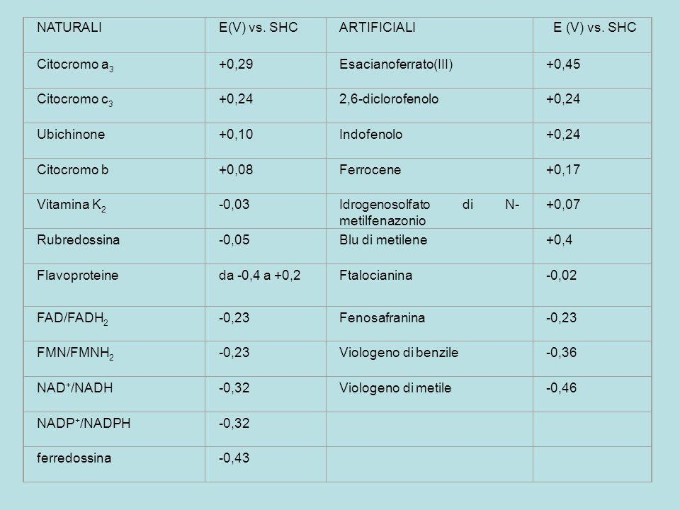 NATURALI E(V) vs. SHC. ARTIFICIALI. E (V) vs. SHC. Citocromo a3. +0,29. Esacianoferrato(III) +0,45.