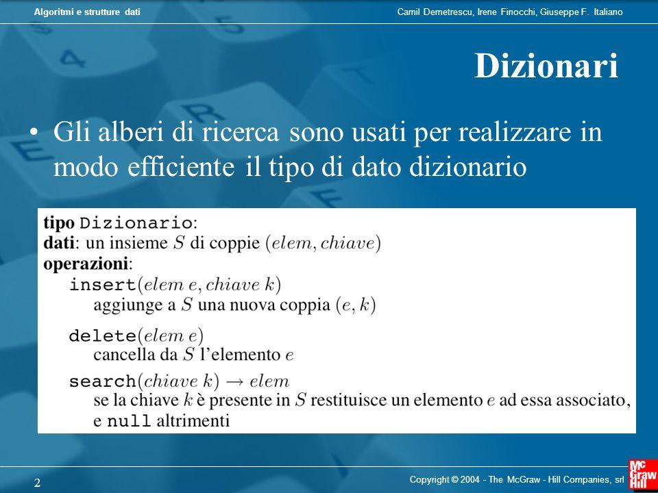 Dizionari Gli alberi di ricerca sono usati per realizzare in modo efficiente il tipo di dato dizionario.