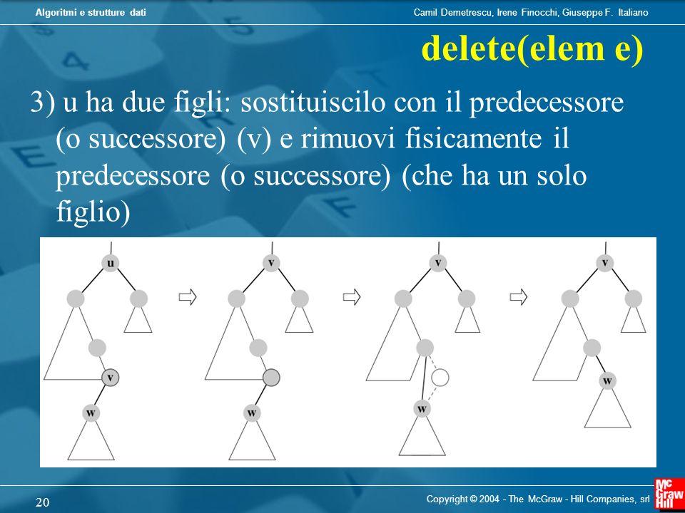 delete(elem e)