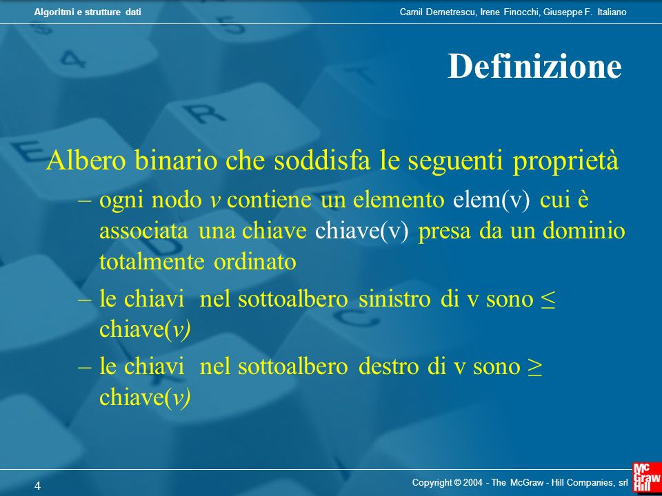 Definizione Albero binario che soddisfa le seguenti proprietà