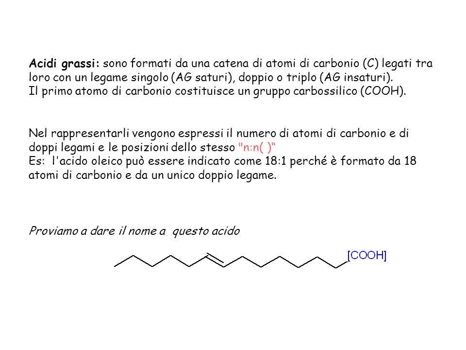 Acidi grassi: sono formati da una catena di atomi di carbonio (C) legati tra loro con un legame singolo (AG saturi), doppio o triplo (AG insaturi).