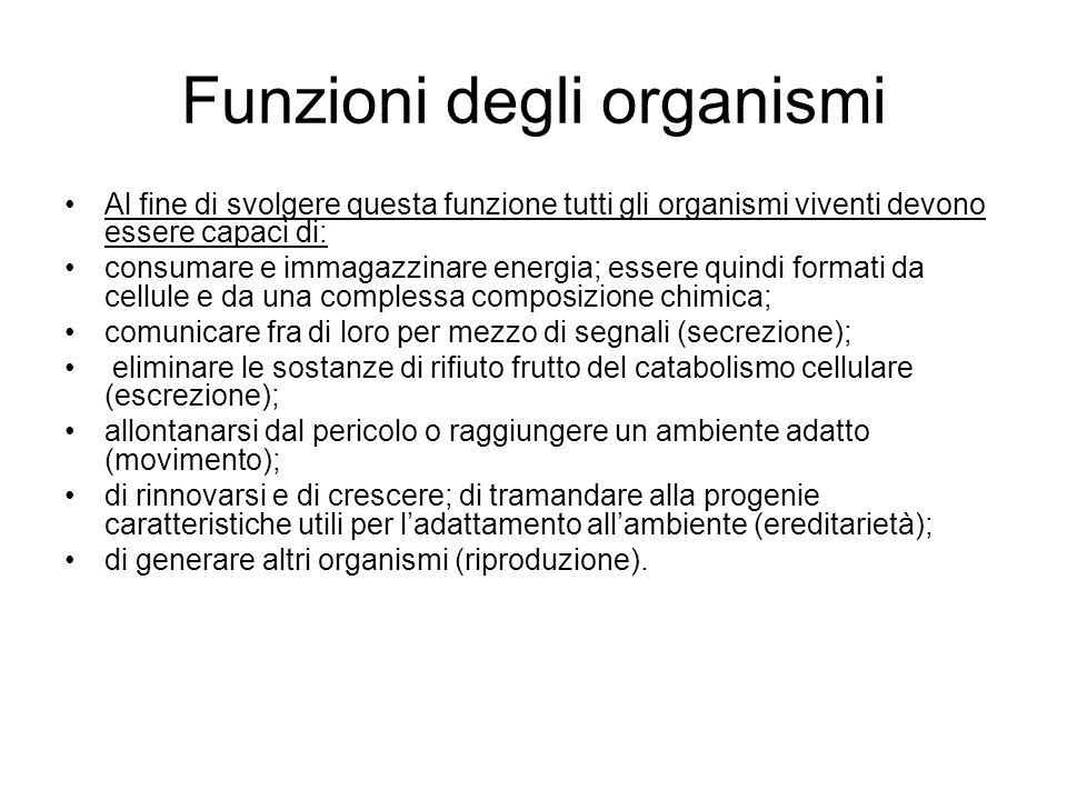 Funzioni degli organismi