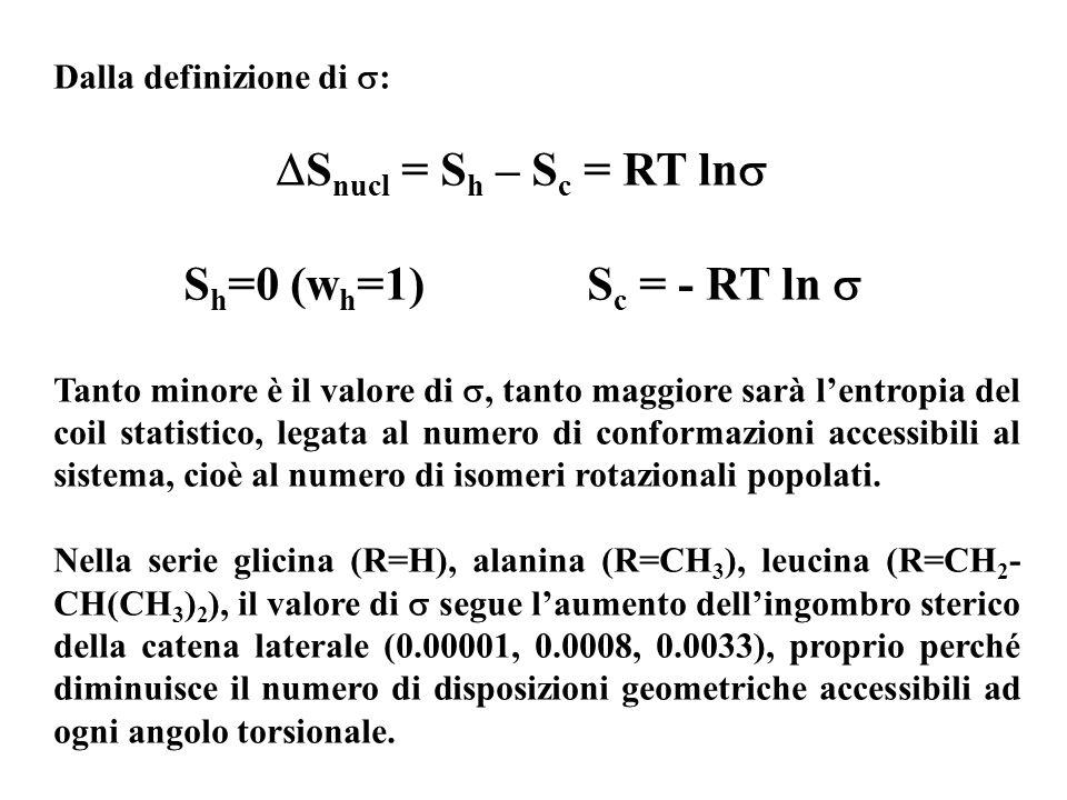 Sh=0 (wh=1) Sc = - RT ln  Dalla definizione di :