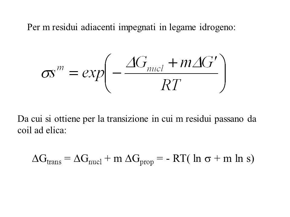 Gtrans = Gnucl + m Gprop = - RT( ln  + m ln s)