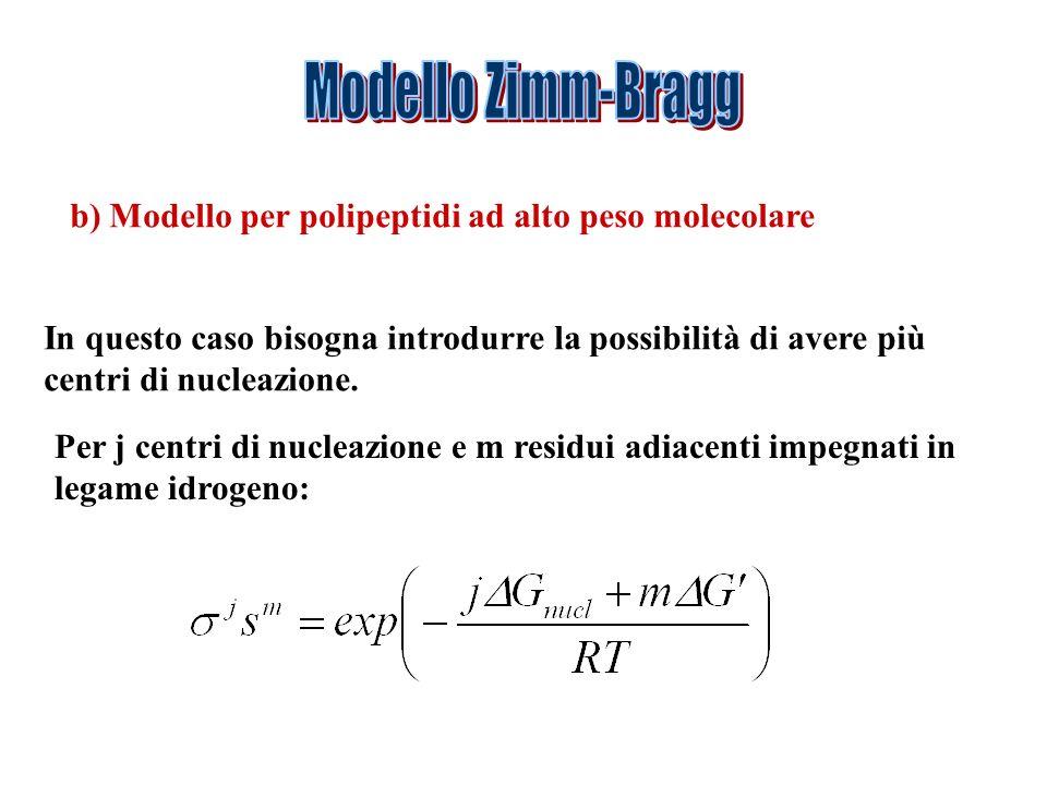 Modello Zimm-Bragg b) Modello per polipeptidi ad alto peso molecolare