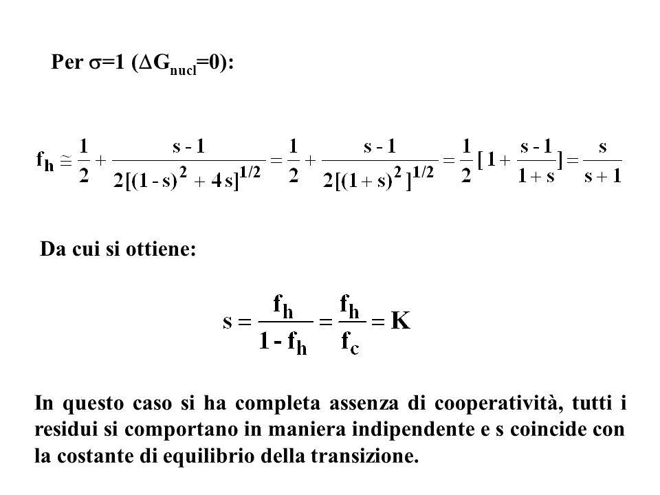 Per =1 (Gnucl=0): Da cui si ottiene: