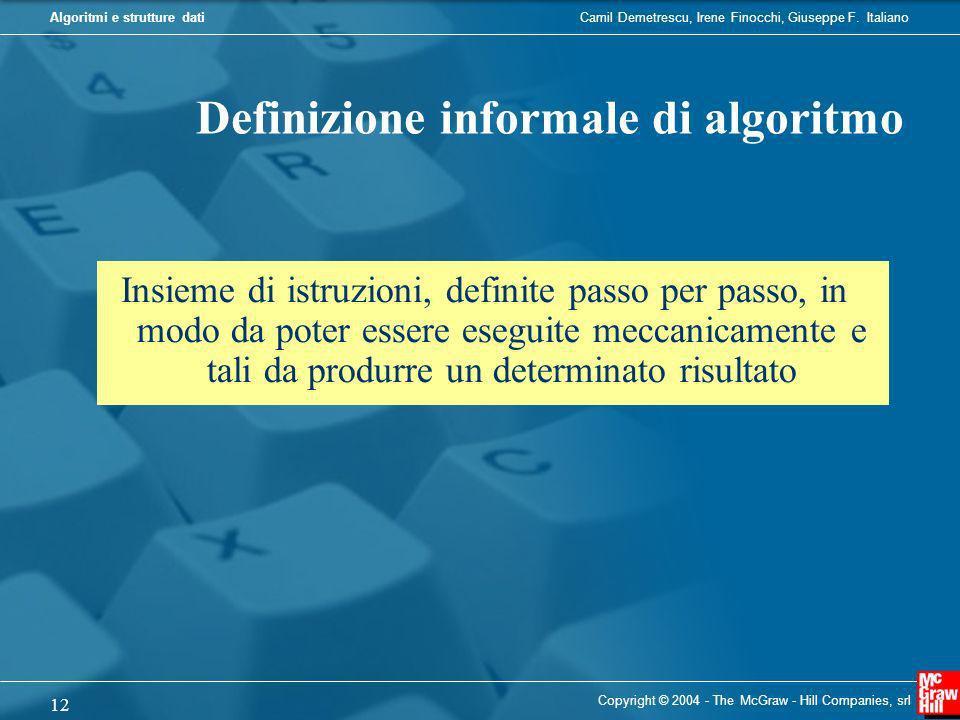 Definizione informale di algoritmo