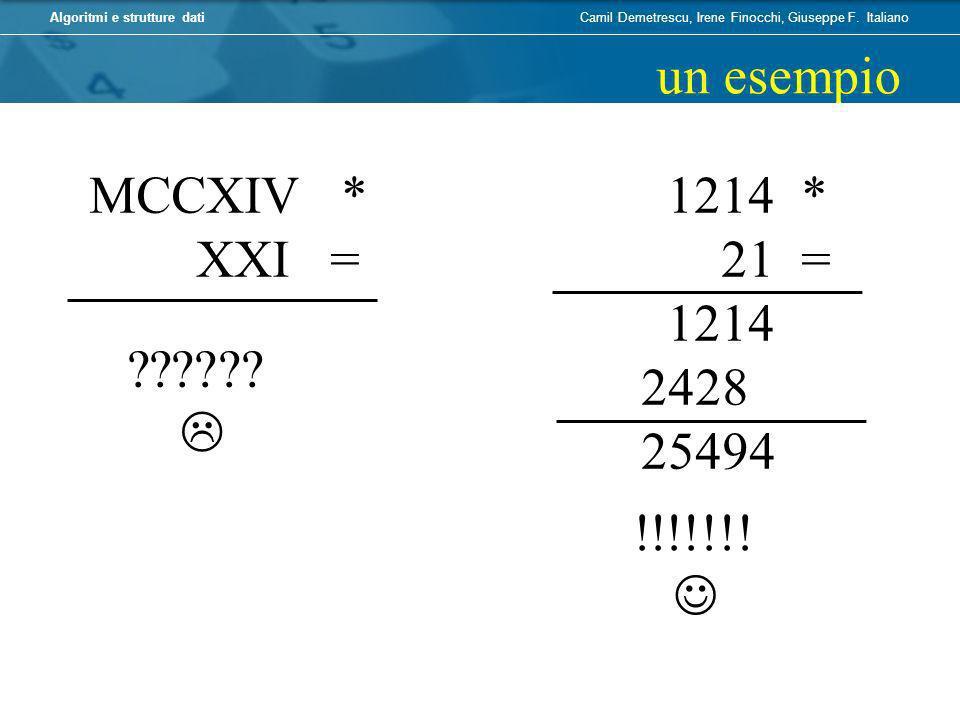 un esempio MCCXIV * XXI = 1214 * 21 = 1214 2428 25494  !!!!!!!