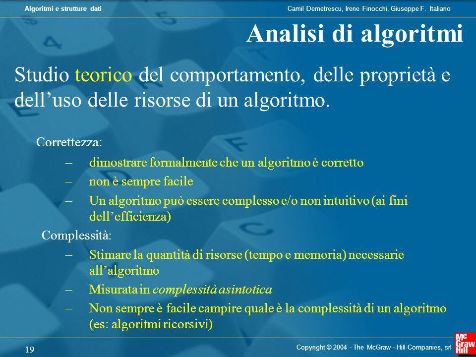 Analisi di algoritmi Studio teorico del comportamento, delle proprietà e dell'uso delle risorse di un algoritmo.