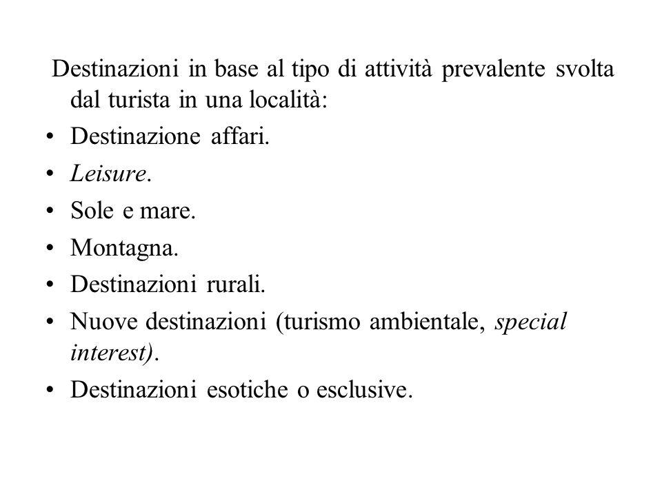Destinazioni in base al tipo di attività prevalente svolta dal turista in una località:
