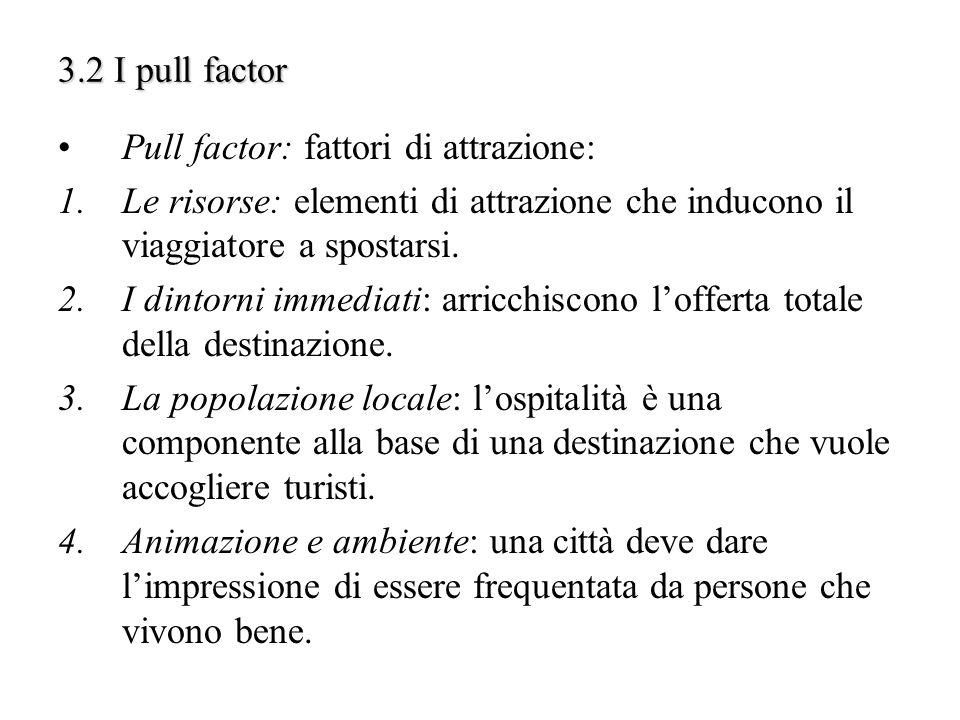 3.2 I pull factor Pull factor: fattori di attrazione: Le risorse: elementi di attrazione che inducono il viaggiatore a spostarsi.