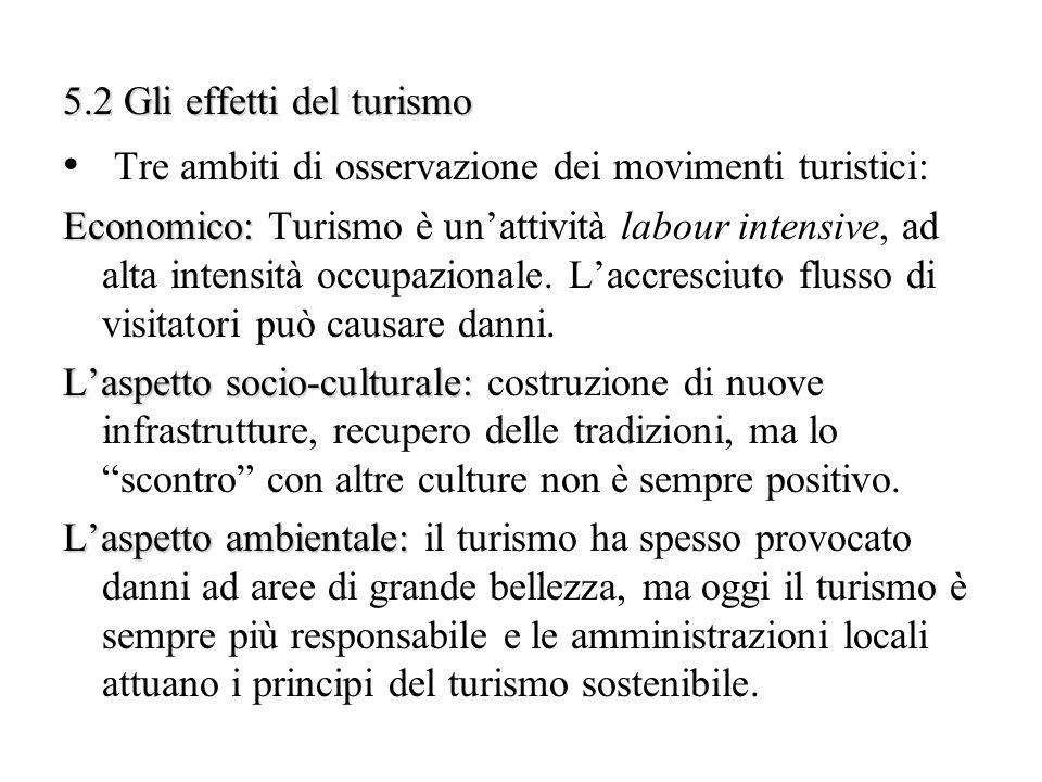 Tre ambiti di osservazione dei movimenti turistici: