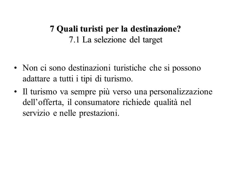 7 Quali turisti per la destinazione 7.1 La selezione del target