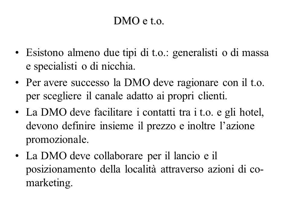 DMO e t.o. Esistono almeno due tipi di t.o.: generalisti o di massa e specialisti o di nicchia.