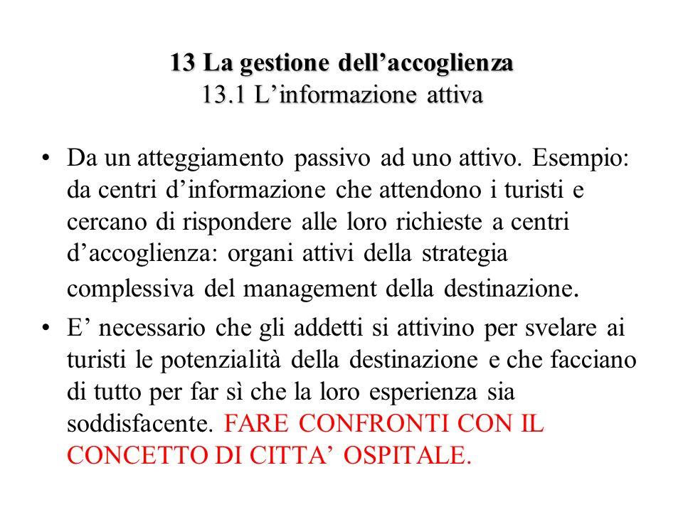 13 La gestione dell'accoglienza 13.1 L'informazione attiva
