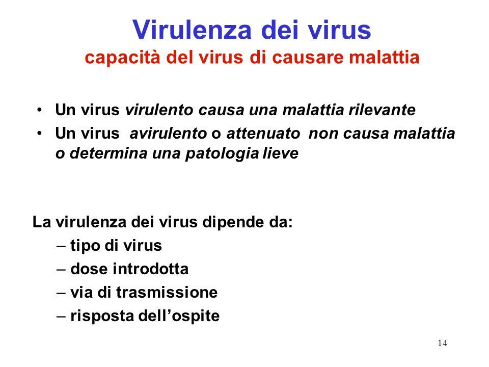 Virulenza dei virus capacità del virus di causare malattia