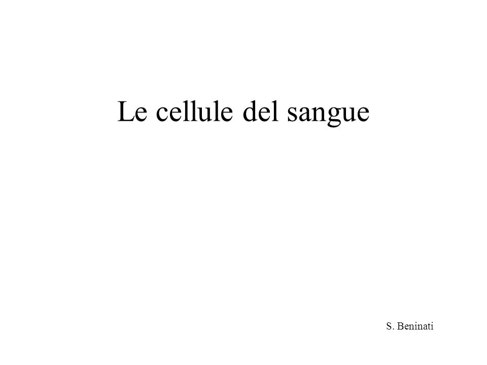 Le cellule del sangue S. Beninati