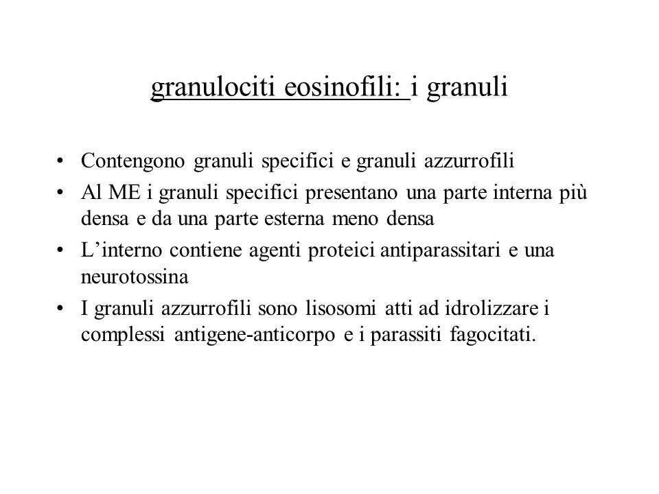granulociti eosinofili: i granuli