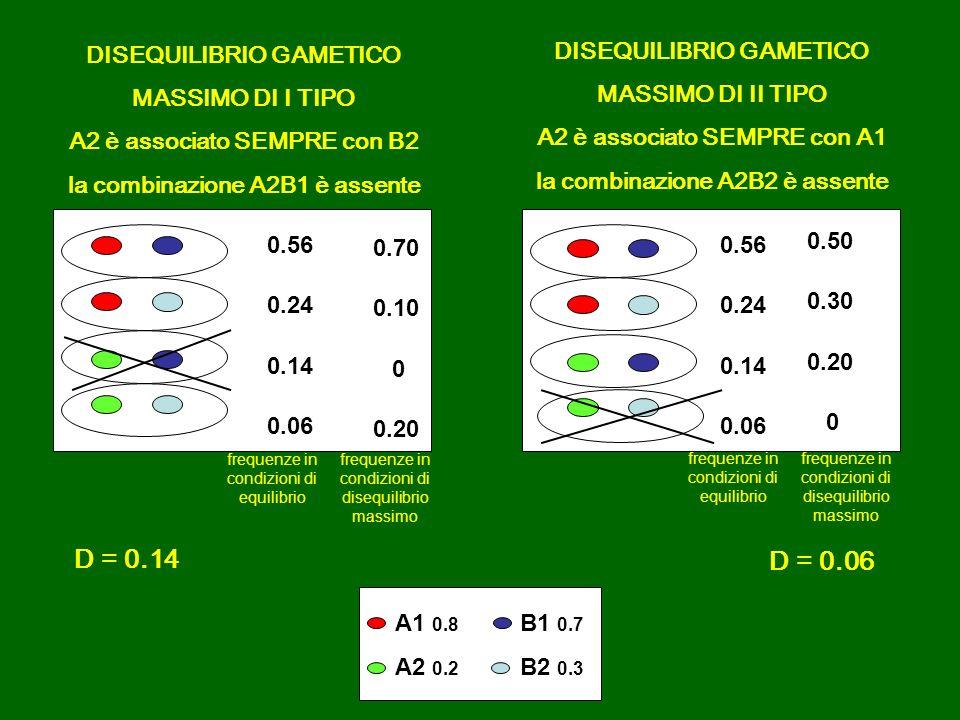 D = 0.14 D = 0.06 DISEQUILIBRIO GAMETICO MASSIMO DI I TIPO