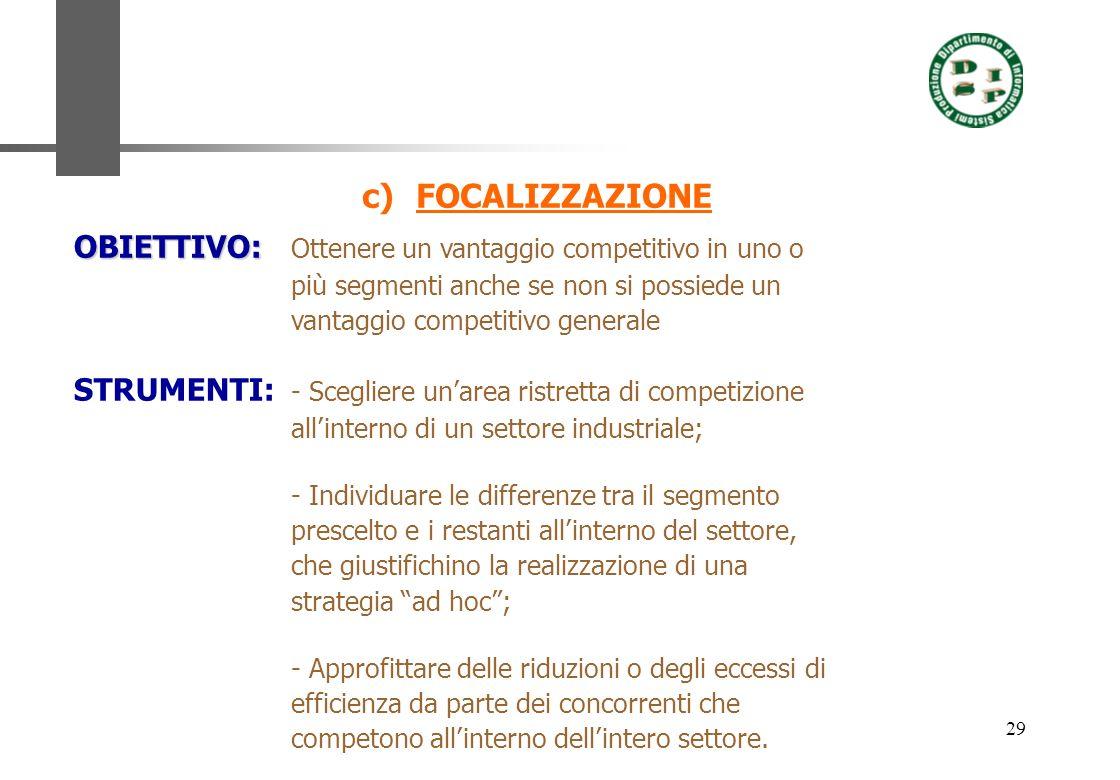 FOCALIZZAZIONE OBIETTIVO: Ottenere un vantaggio competitivo in uno o più segmenti anche se non si possiede un vantaggio competitivo generale.