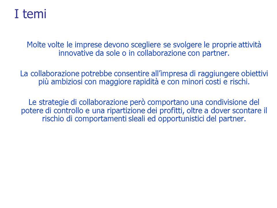 I temi Molte volte le imprese devono scegliere se svolgere le proprie attività innovative da sole o in collaborazione con partner.