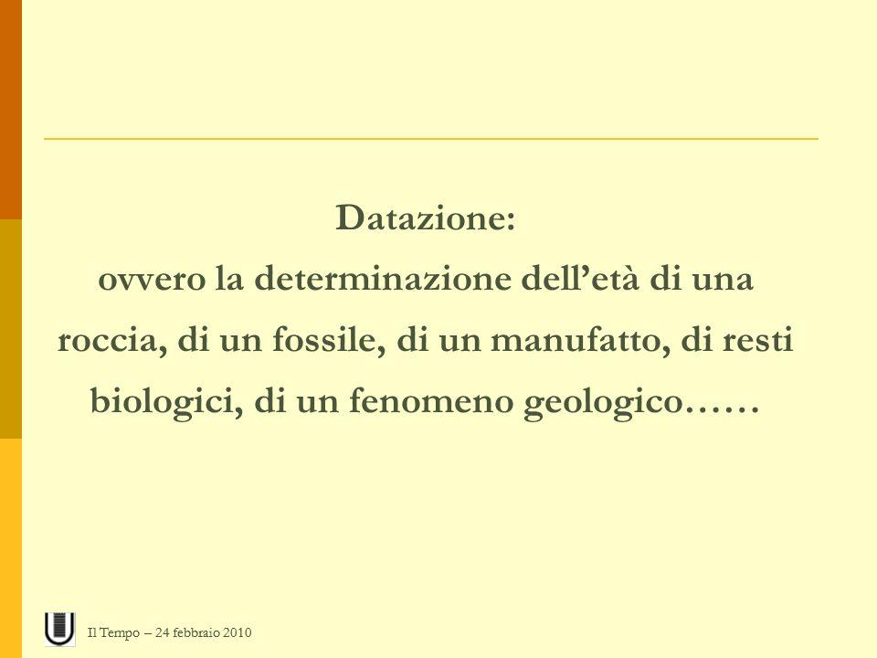 Datazione: ovvero la determinazione dell'età di una roccia, di un fossile, di un manufatto, di resti biologici, di un fenomeno geologico……